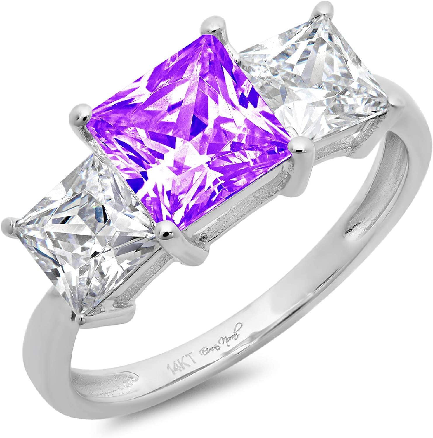 2.97ct Brilliant Princess Cut 3 Stone Solitaire with Accent Natural Purple Amethyst Gem Stone VVS1 Designer Modern Statement Ring Solid 14k White Gold Clara Pucci