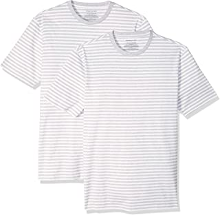 Amazon Essentials Men's 2-Pack Slim-Fit Short-Sleeve Crewneck Stripe T-Shirt