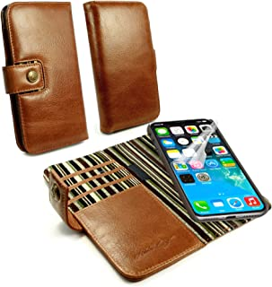 Alston Craig Personalised Slim Magnetic Shell RFID Vintage Leather Case Wallet for iPhone X/XS (No Bill-fold Section) - Brown