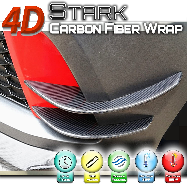 """24/"""" x 60/"""" Premium 4D Gloss Black Carbon Fiber Vinyl Wrap Bubble Free Air Release"""