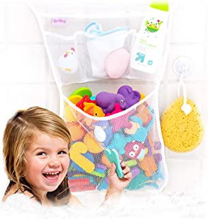 Tub Cubby Bath Toy Organizer + 36 ABC Foam Letters & Numbers & Ducky Bathtub Play Set - Mold Resistant Mesh Net Bag - Baby...