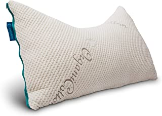 Everpillow by Infinitemoon - Curved Side Sleeper Bed Pillow - Premium Adjustable Bed Pillow - Blend of Natural Latex and Kapok Fill - Organic Cotton Cover - Queen Size Pillow Curve