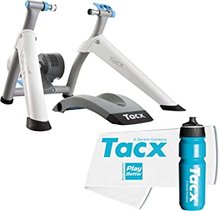 TacX Flow Smart Trainer Bundle with TacX/PlayBetter Premium 750ml Cycling Water Bottle & Large Trainer Towel | Wheel-On Design | Indoor Cycling