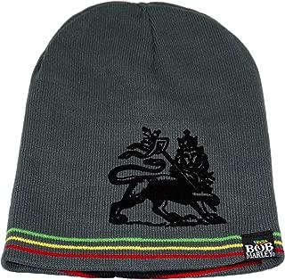 BOB Marley Irie Stripe Lion Reversible Beanie Hat Grey