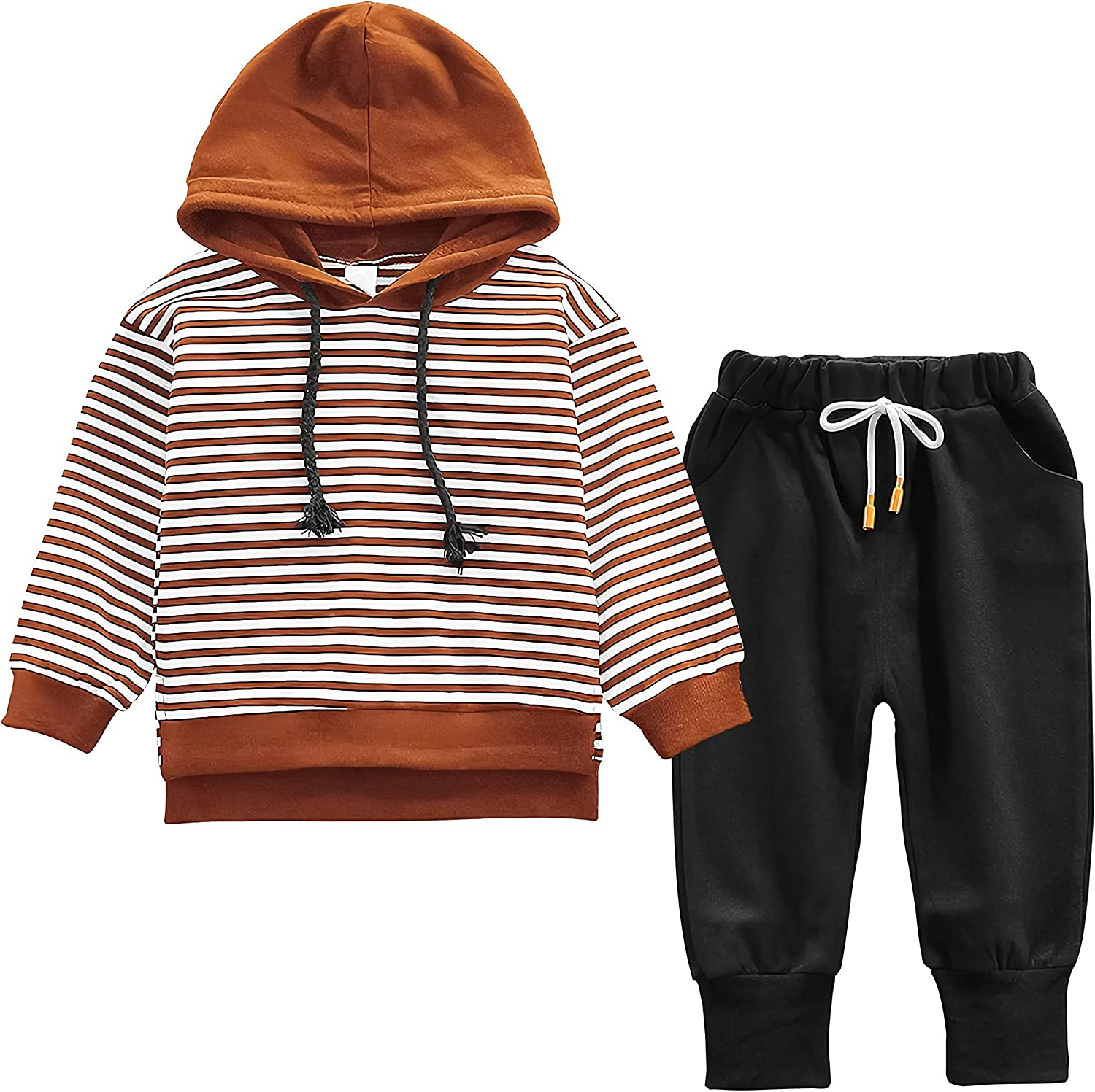 Nwada Toddler Boy Hoodies and Sweatpants Sets Kids Two-Piece Fashionable Jogger Outfit Age 12 Months to 5 Years