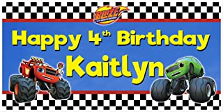 Blaze and the Monster Truck Birthday Banner Personalized Party Backdrop Decoration