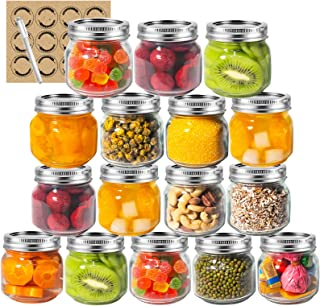 LAPANDA 8 oz Regular Mouth Mason Jars (16 Pack) with 12 Labels and One Pen, Glass Canning Jars with Silver Metal Airtight ...
