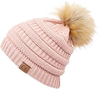 Hatsandscarf Exclusives Unisex Solid Ribbed Beanie with Pom (HAT-43)
