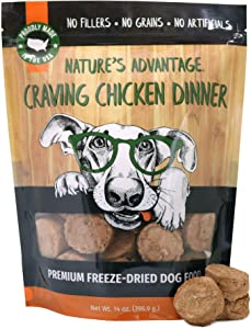 Nature's Advantage Dinner Dog Food - Freeze-Dried - All Natural Dog Food - Made & Sourced in USA - Grain Free - Resealable Pouch