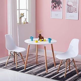 LiePu Table Ronde Scandinave, Table de Salle à Manger en Bois de Hêtre, Table de Cuisine pour 2 à 4 Personnes, 80 x 73 cm,...