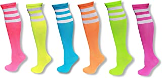 6 Pack of Neon Colored Knee High Tube Socks w/White Stripes