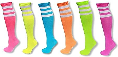 6 Pack of Neon Colored Knee High Tube Socks w/White Stripes