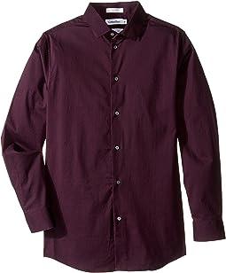 Long Sleeve Luster Tonal Stripe Stretch Shirt (Big Kids)