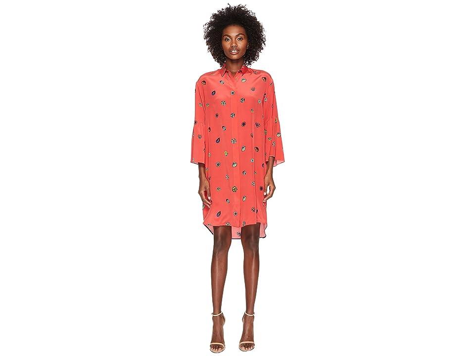 Paul Smith Floral Print Silk Dress (Coral) Women