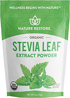 Nature Restore USDA Certified Organic Stevia Leaf Extract Powder, 4 ounces, Non GMO, Gluten Free, 100% Natural Stevia Swee...