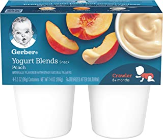Gerber Yogurt Blends, Simply Peach, 4-Count, 3.5-Ounce Cups (Pack of 6)