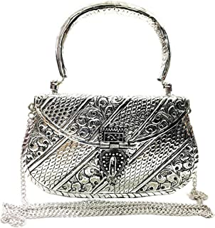 Trend Overseas White Silver Brass metal women girl party bridal clutch detachable chain special ethnic antique gift