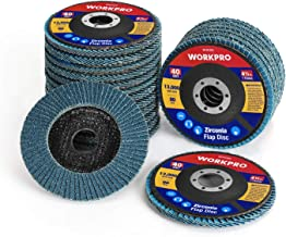WORKPRO 20-pack Flap Disc, 4-1/2 x 7/8-inch, T29 Zirconia Abrasive Grinding Wheel and Flap Sanding Disc, Includes 40/60/80/120 grits