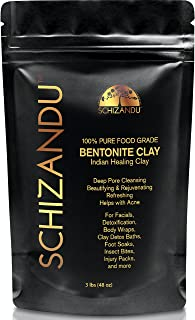 Bentonite Clay, Organic Food Grade Indian Aztec Healing Clay, 3 lbs, Detox Powder for Beauty Mask, Skin, Hair, Acne, Cleansing, Bath, Soap, Pure Green Living Calcium Clay, Vegan,Gluten and Toxin Free
