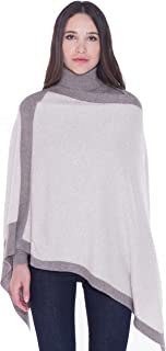 cashmere 4 U 100% Cashmere Poncho Asymmetrical Boat Neck Wraps for Women