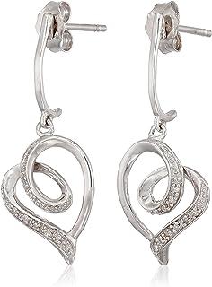 Sterling Silver Diamond Accent Heart Earrings