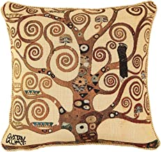 Signare Gustav Klimt Artist Tapestry Double Sided Square Throw Pillow Cover 18 x 18/ 45cm x 45cm (No Padding) in Tree of Life Design