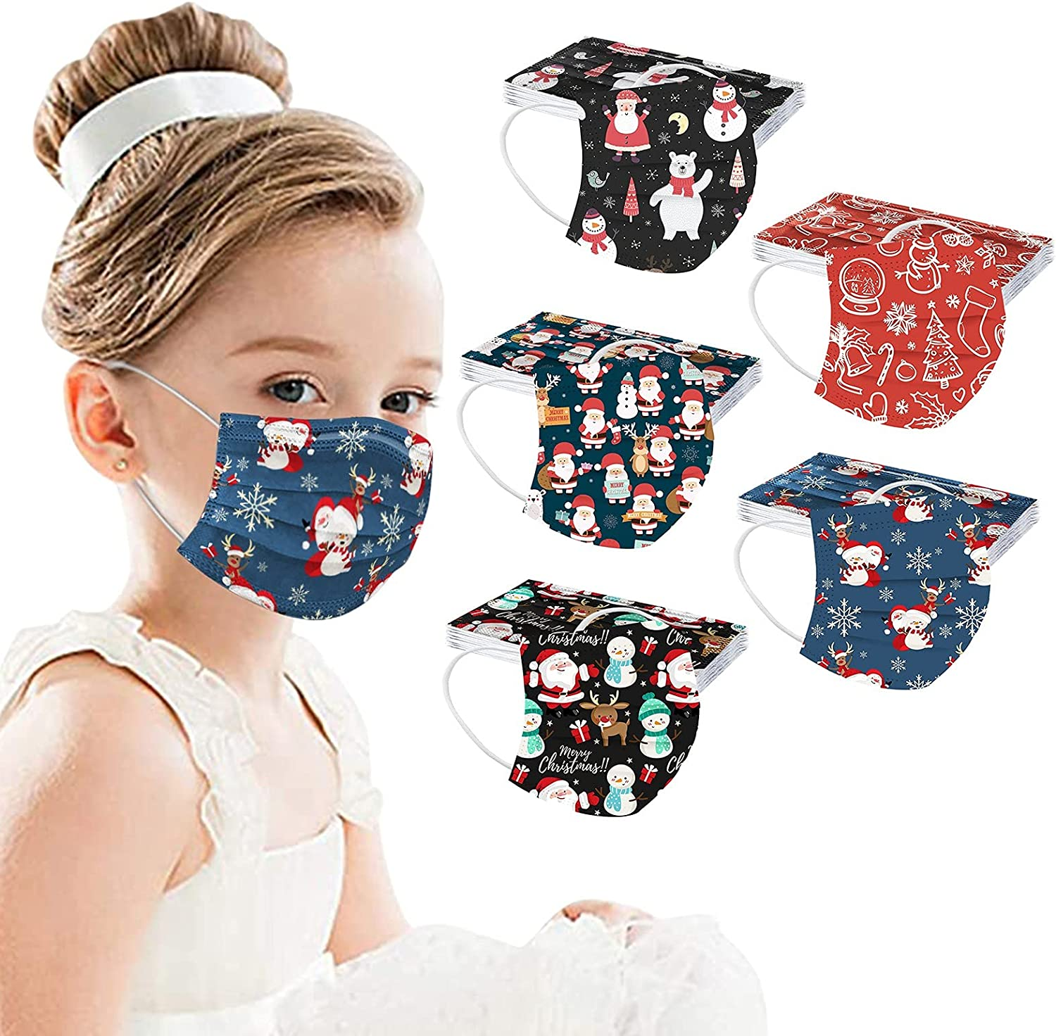 Kids Award-winning store Disposable Face Masks Mix 50 3 Christmas mask Quantity limited pack Layers