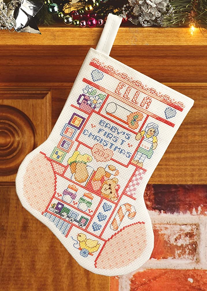 Janlynn Baby Girl First Christmas Stocking Counted Cross Stitch Kit, 10
