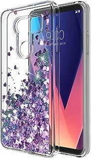 LG V30 Case, LG V30 Plus Case, Rosebono Glitter Sparkly Bling Cute Liquid Shiny Luxury Moving Quicksand Clear TPU Protective Case Cover for LG V30 (Purple)