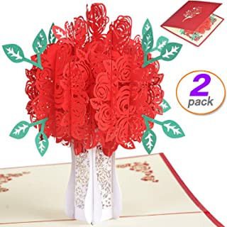 2 pack Rose Bouquet Pop Up Card 3D Card Flower Card Greeting Cards for Valentines,Lovers,Couple's Happy Anniversary Gifts