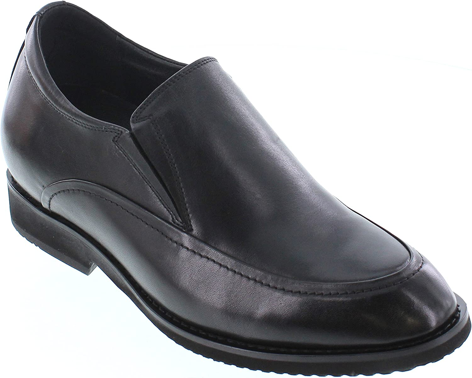 CALTO Men's Invisible Height Increasing Elevator shoes - Black Premium Leather Slip-on Dress Style Formal Loafers - 2.8 Inches Taller - T2206