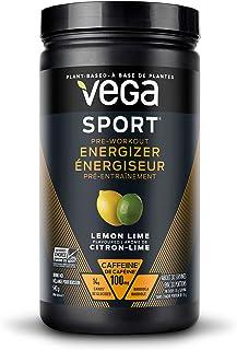 Vega Sport Pre-Workout Energizer Lemon Lime (30 Servings, 550g) - Vegan, Gluten Free, All Natural, Pre Workout Powder, Non...