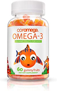 Coromega Kids Omega 3 Fish Oil Gummies, 50mg DHA and 10 mg EPA of Omega-3s Fatty Acids, Dietary Supplement, Orange, Lemon,...