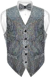 Men's Sequin Design Dress Vest & Bow Tie Silver Color Bowtie Set for Suit Tux