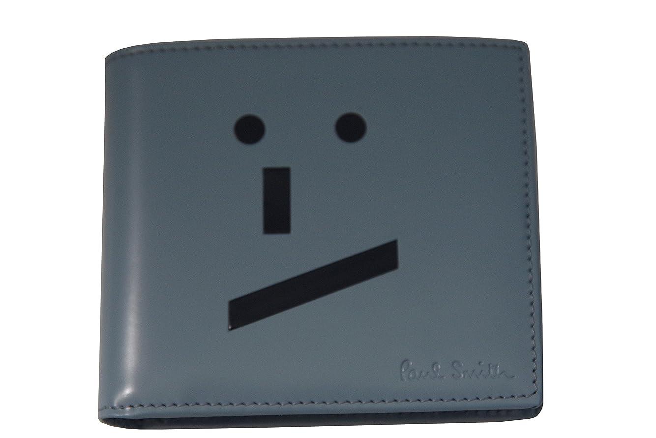 瞑想結晶シアー[ポール?スミス] 財布 エモティコン フェイス 本革 スペイン製 スカイブルー F47535 新品正規品