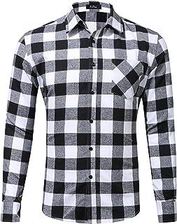 XI PENG Men's Dress Long Sleeve Plaid Checkered Flannel Shirt