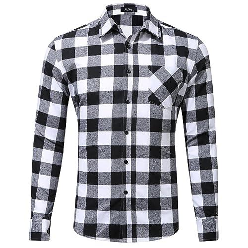 6d09d6519b5 XI PENG Men s Dress Long Sleeve Plaid Checkered Flannel Shirt
