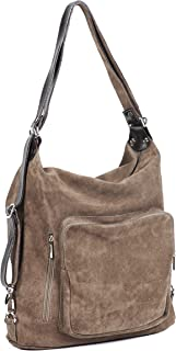 Women Leather Backpack/Purse - Handmade Convertible Hobo Shoulder Bag from Genuine Suede Leather