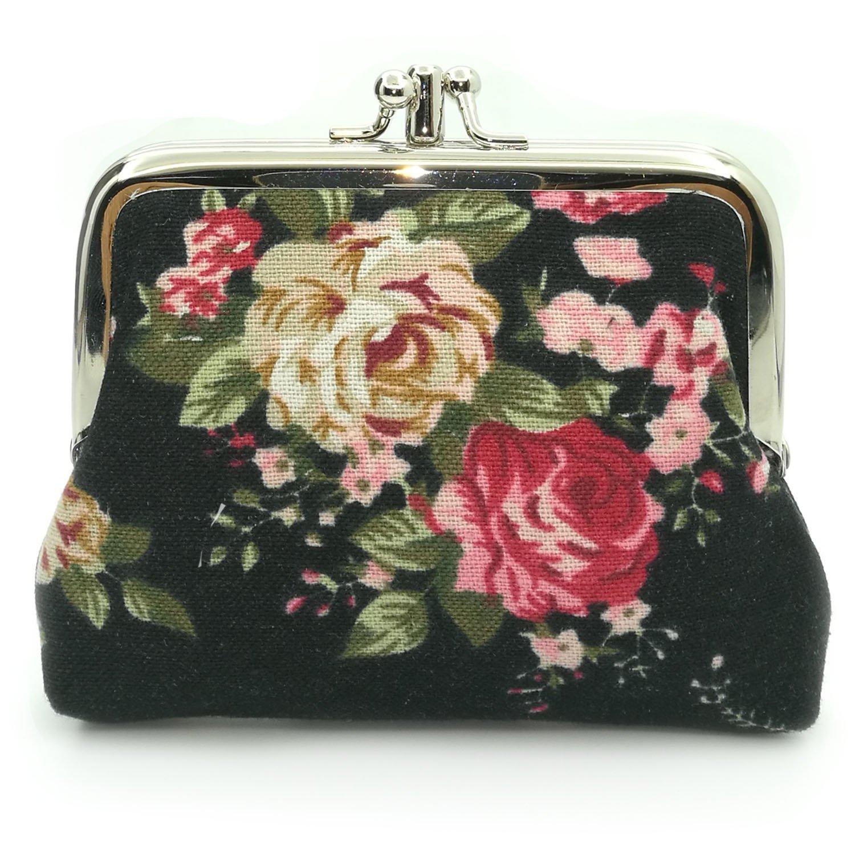 Floral Buckle Vintage Kiss lock Wallets
