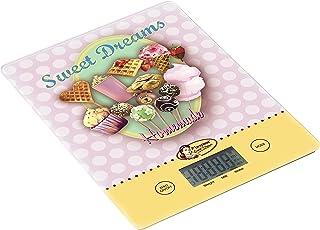 Bestron Digitale Küchenwaage mit LCD-Anzeige, Retro Design, Sweet Dreams, Tragkraft 5 kg, Präzision auf 1 g, Glas, Rosa