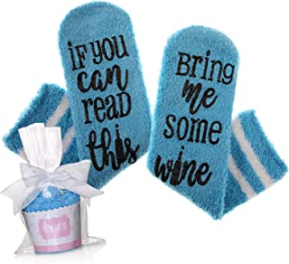 If You Can Read This Bring Me Some Wine Socks Fuzzy Funny Novelty Socks Christmas Gift With Cupcake Gift Packaging
