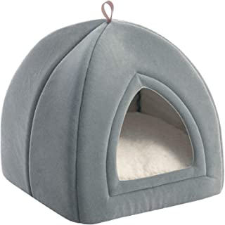 Bedsure Kitten Bed Cave Bed for Cats & Dogs- 15x15x15 inches 2-in-1 Kitty Bed/Cat Hut/Covered Cat Bed Caves with Removable...