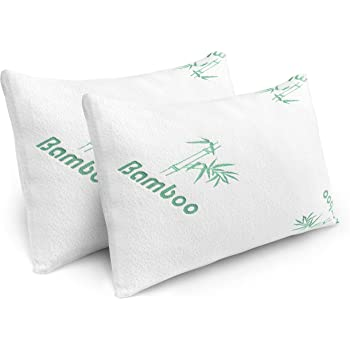 Pillows for Sleeping - 2 Pack Cooling Shredded Memory Foam Bed Pillows with Bamboo Hypoallergenic Covers (Queen Size)