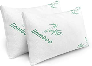 Plixio Pillows for Sleeping - 2 Pack Cooling Shredded Memory Foam Bed Pillows with Bamboo Hypoallergenic Covers (Queen Size)