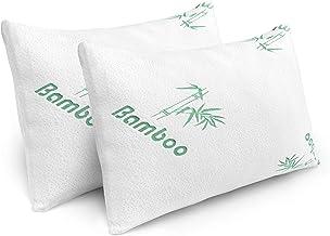 2 عبوة من وسائد السرير Queen للنوم مع إسفنج الذاكرة الممزق وغطاء Bamboo الذي لا يسبب الحساسية والقابل للغسل- Plixio