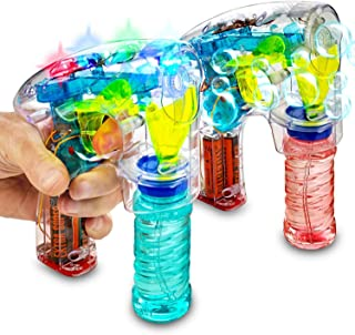 Kicko Bubble Gun Blower Machine - Pack of 2 Light Up LED Transparent Blaster - for Kids, Playing, Outdoors, Indoors, Gifts, and Party Favors - 1 Bubble Solution and Batteries Included