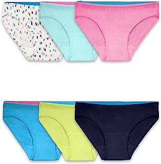 ملابس داخلية للفتيات من فروت أوف ذا لوم بنسيج شبكي صغير جيد التهوية (عبوة من 6)، بكيني، 6