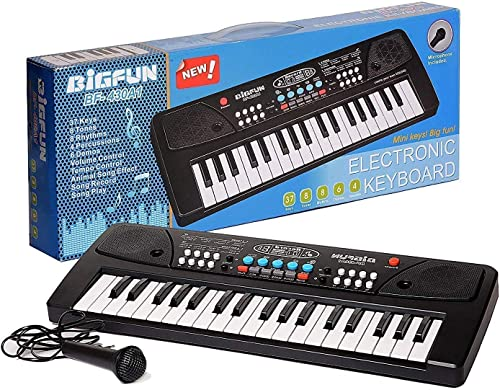 HKD SALES 37 Key Piano Keyboard Toy for Kids with Mic Dc Power Option Recording Charger not Included Best Birthday Gift for Boys and Girls Musical Instruments Keyboard Music