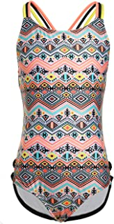 One Piece Swimsuits for Girls, Strap Crossback Tribal Pattern Printing Bathing Suit for Kids