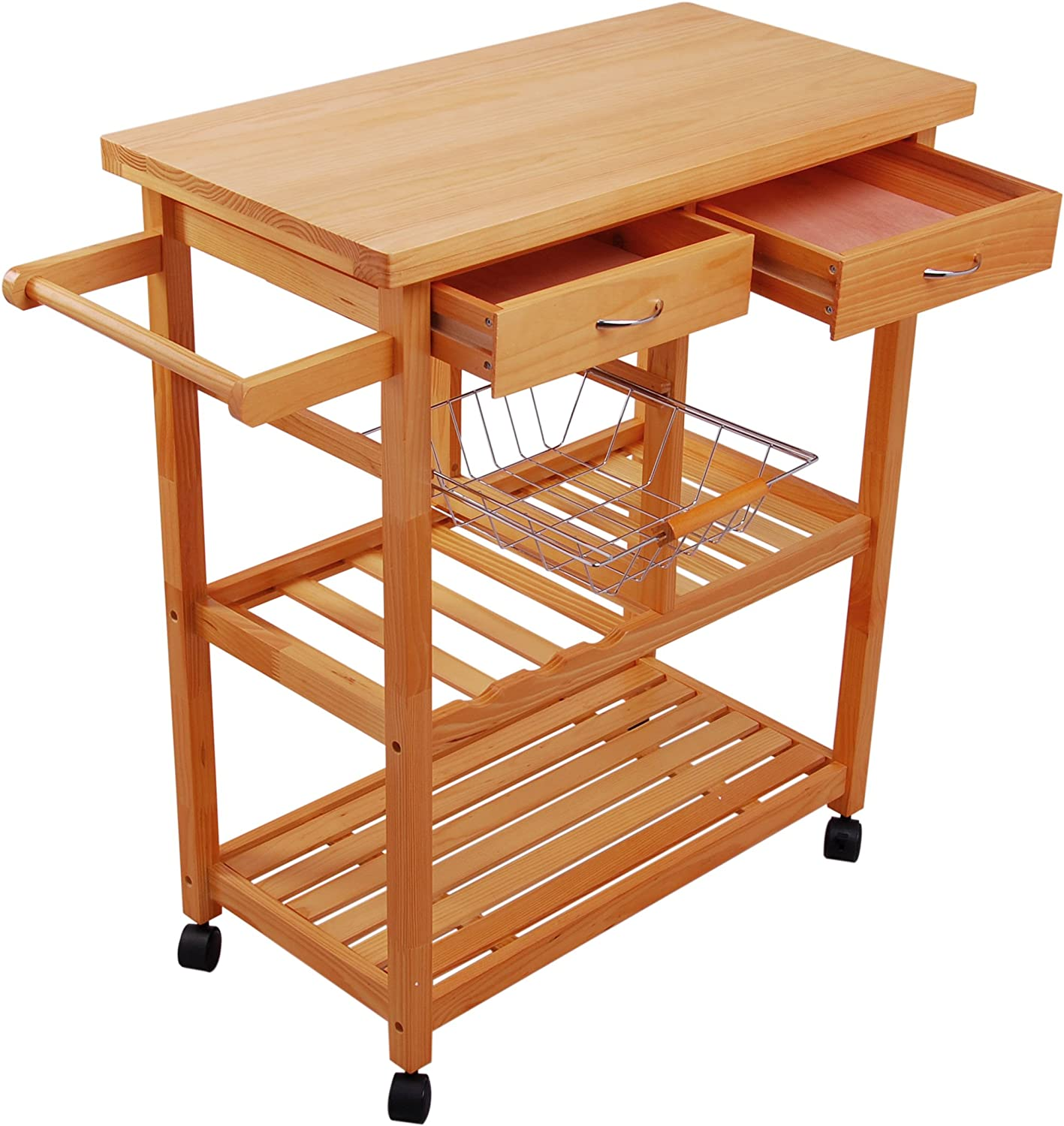 HOMCOM Rolling Kitchen Trolley Portable Kitchen Serving Cart with Drawers Basket and Shelves